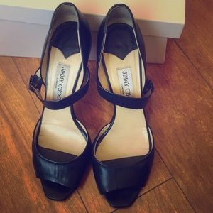 Jimmy choo black leather heel